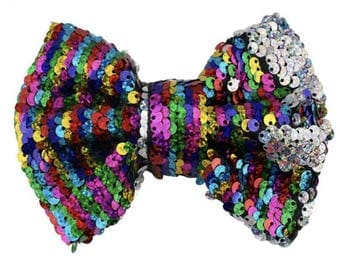 "5"", Sequin Bow, Double Sided Sequin, NO CLIPS ATTACHED, Rainbow Sequin, Rainbow Bow, Sequin Hair Bow, Hair Bows, Girls Hair Accessories"