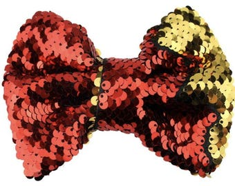 "5"", Sequin Bow, Double Sided Sequin, NO CLIPS, Red and Gold Sequin, Christmas Bows, Sequin Hair Bow, Hair Bows, Girls Hair Accessories, 1PC"