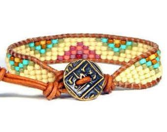 Bead Loom Bracelet Leather Wrap Bracelet Aqua Pink Mountains Seed Bead Bracelet Boho Bracelet Bohemian Jewelry