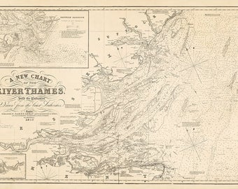 1852 Nautical chart of the River Thames