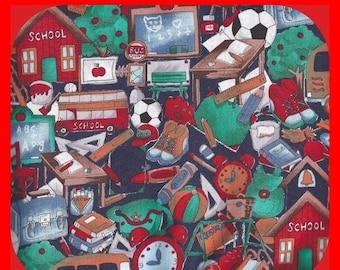 Colorful COTTON Fabric School Sports Music Teaching Reds Greens Clocks 1-2/3 Yards