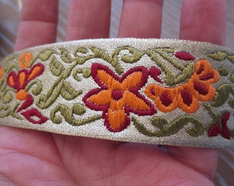 Floral Trim Jacquard Yardage 5yds Metallic Antique Gold Embroidered Non Stretch Woven