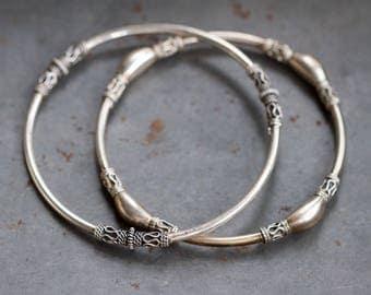 Pair of Silver Bangles - Sterling Silver Boho Bracelet - Set of 2