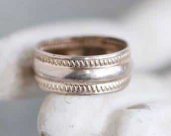Wide Wedding Band - Sterling Silver Ring Size 5.5