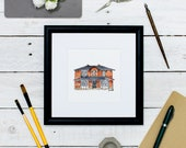 Small Sketch House Portrait: Paper Anniversary Gift - Housewarming Art - Custom Home Illustration - House Drawing - Watercolour Building