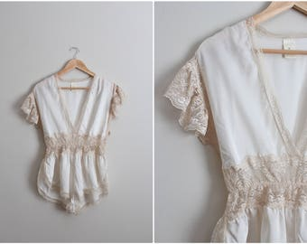 90s Teddy Nylon Lace Bodysuit / Teddy Lingerie / Wedding nightgown / Lace Bridal Lingerie/  Size S/M