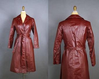 70's Burgundy Leather Jacket / Leather Coat / Trenchcoat / 1970s Oxblood Leather / Burgundy Brown Midi Leather Coat / Size XS/S