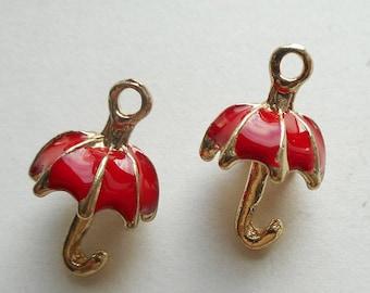 2pcs-3D red Umbrella charm -enamel charm