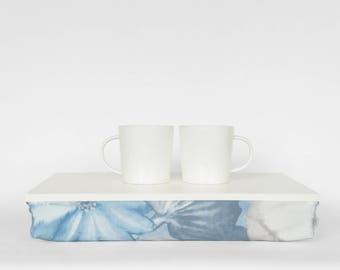 Serving tray with comfortable pillow, Stable table, iPad stand- Off White with pastel blue watercolor flower print Pillow
