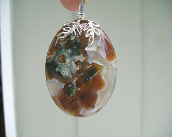Rare Vintage Fire Agate Necklace on 18 Inch Sterling Silver Chain Large Fire Agate Pendant Fire Agate Jewelry