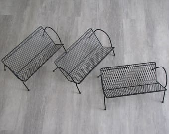 Atomic Mid Century Freestanding Wire Book Shelf  - black - set of 3