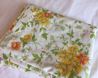 Vintage double Flat Bedsheets-Yellow, Pink, Orange and Red  Floral