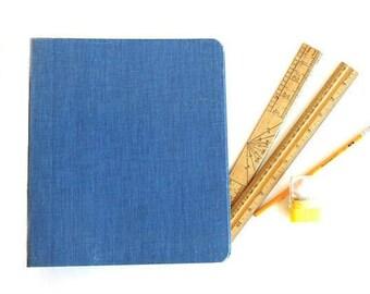 Vintage Mead Blue Cloth Canvas Binder 3 Ring Binder Retro School Binder