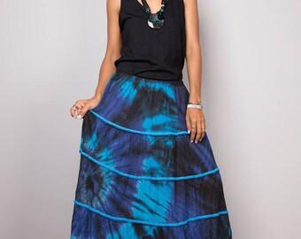 Tiered skirt, maxi skirt, tie dye skirt, boho skirt, blue skirt, summer skirt, festival skirt : Funky Collection