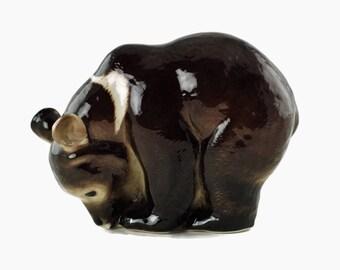 Vintage Lomonosov Porcelain Soviet Era Spectacled Bear Figurine
