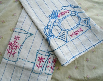 2 Vintage Embroidered Towels / Kitchen Towels / Dish Towels / Fork And Knife / Dinner Plate / Pitcher And Glasses / Hand Embroidered /Picnic
