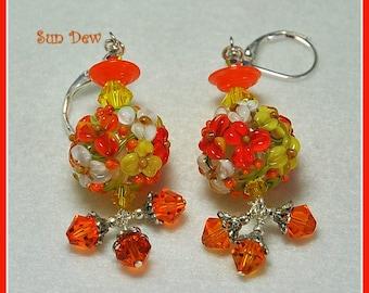 Orange and Yellow Earrings,Floral Earrings,Dangle Earrings,Lampwork Beads,Glass Earrings, Bead Earrings - SUN DEW