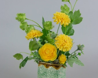 Handmade pot with Artificial Plants / Small Green Dreamer Yellow Daisy and Greens