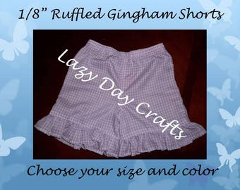 Girls Ruffled Gingham Check Shorts  - Toddler Girls Size 12 months to 5 - Many Colors Available