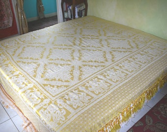 "Gypsy Bedding, Italian Silk or Silk Blend, Mint Condition, Reversible, 92""l. x 96""w."