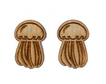 Qualle Ohrstecker Miniblings Stecker Ohrringe Holz LC Tier Meer Ozean Meerestier