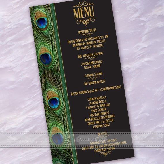 menu, peacock menu, 50th birthday party menu, wedding menu, wedding luncheon menu, rehearsal dinner menu, peacock party, lunch date, IN605