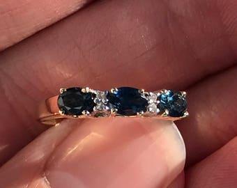 sapphire and diamond stacker band