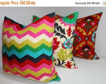 FALL is COMING SALE Waverly Trio Santa Maria Desert Flower Panama Wave Medallion Pillow Covers Decorative Pillow 18x18