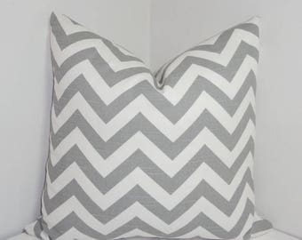SPRING FORWARD SALE Pillow Cover Grey and White Zig Zag Chevron Decorative Pillow All Sizes