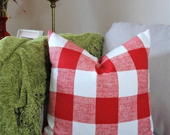 SPRING FORWARD SALE Large Buffalo Checked Red Plaid Pillow Covers Large Checked Red & White Plaid Pillow Covers Choose Size