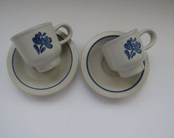 Pfalzgraff Blue and Gray Footed Demitasse Cup and Saucers - Set of 2 - Yorktowne Pattern - Country Kitchen - Farm House Chic - Collectible
