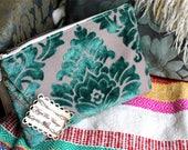 10 in Clutch Purse in Teal Mint Green Aqua Damask Cut Velvet Mini Mia Clutch