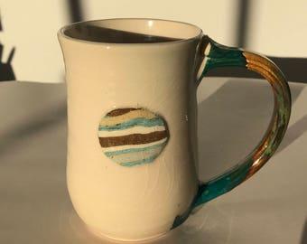 12 oz Turquoise and Off-White Rainbow Moon Ceramic Mug Pottery Mug