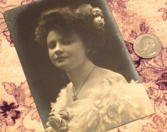 Antique Postcard Lady With Roses And Feathers
