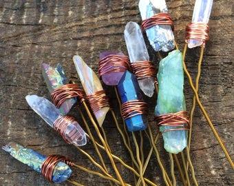 crystal hair pins, set of 3 quartz crystal hair pin, raw crystal hair pin, bridal hair pin