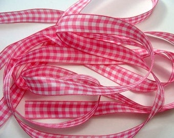 "5/8"" Gingham Ribbon - Pink - 4 yards"