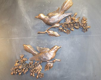 Pair of Vintage Syroco Coppercraft Guild Wall Mount Bird Plaques