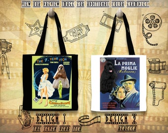 American Cocker Spaniel Tote Bag/Cocker Spaniel Portrait/Cocker Spaniel Art/Custom Dog Portrait/Movie Poster/The Seven Year Itch/Rebecca