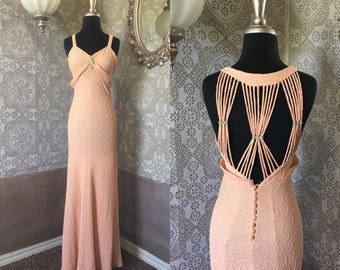 Vintage 1930's 40's Light Pink Gown Small