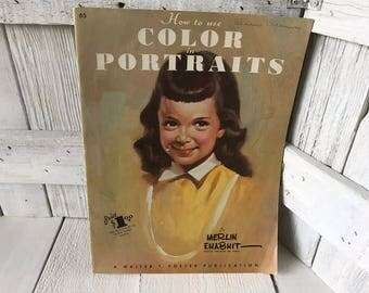 Vintage book How to Use Color in Portraits Walter Foster art instruction 1950s- free shipping US
