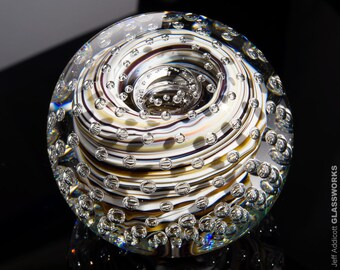 Handcrafted Art Glass Paperweight - Earth Tone Color Streaks with Bubble Grid