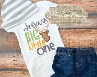 Dream Big Little One - Daddy's hunting buddy - baby boy outfit - take home outfit - baby shower gift - deer hunter