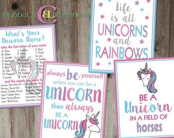 Unicorn Birthday Party Artwork - DIGITAL DOWNLOAD. 8x10 Unicorn Party Artwork. Unicorn Party Decor. Unicorn. Unicorn Party. Party Decoration