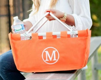 Monogrammed Orange Market Tote, Collabsible Market Tote, Orange Tailgating Tote, Monogram Shopping Basket, Collapsible Tote, Monogram Basket