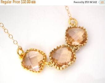 SALE Peach Necklace, Gold Champagne Necklace, Beige Necklace, Bridesmaid Jewelry, Gold Filled, Bride Necklace, Bridal Jewelry, Bridesmaid Gi