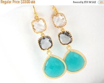 SALE Aqua Blue Earrings, Mint, Aquamarine, Charcoal, Gray, Grey, Clear Earrings, Gold, Bridesmaid Jewelry, Bridesmaid Earrings, Bridesmaid G