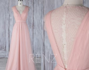 2017 Peach Tulle Bridesmaid Dress, V Neck Wedding Dress, A Line Prom Dress, Key Hole Illusion Lace Back Evening Gown Floor Length (HS487)