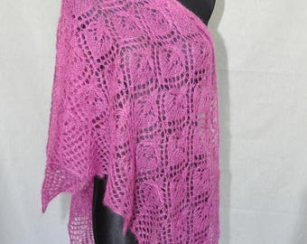 Christmas in July Sale Magenta Hand Knit Lace Shawl, Fuchsia Knit Shawl, Woman Lace Shawl, Luxurious Kid Mohair and Silk Shawl, Water Lily
