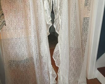a set of lace curtains ruffled white shabby victorian roses