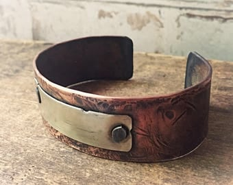Men's Copper Cuff Bracelet - Forged Copper Recycled Metal - Wide Copper Cuff - Gift for Him - Anniversary Gift
